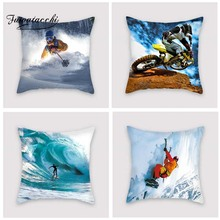 Fuwatacchi Extreme Sport Printed Cushion Cover Ski Motocross Pillow Cover Surf Rock Climbing Decorative Pillowcase for Home Sofa