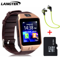 Langtek smart watch dx01 dispositivos wearable bluetooth relógio de pulso para o telefone android com o cartão sim do smartphone saúde smartwatches