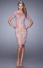 Dressgirl Lavender Cocktailkleider 2017 Mantel Kurzen Ärmeln Durchsichtig Appliques Spitze Short Mini Homecoming Kleider
