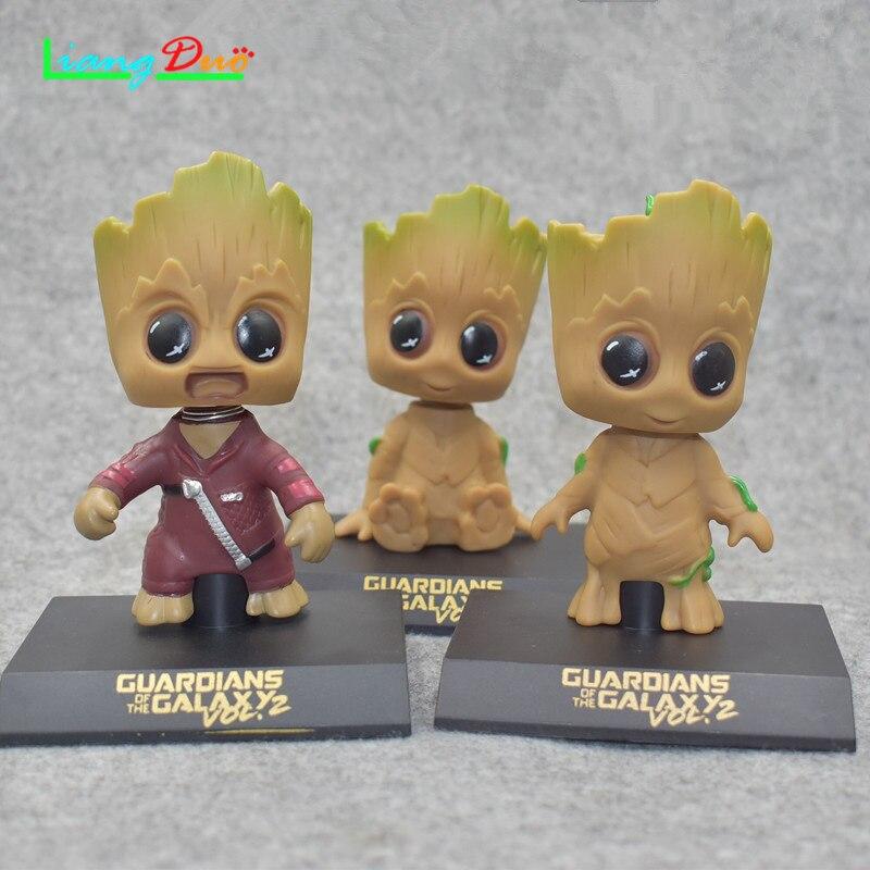 3 stks/set Guardians zijn Galaxy schütteln hoofd boom Baby Groottings modell mode decoratieve speelgoed geschenk spielzeug auto- zubehör