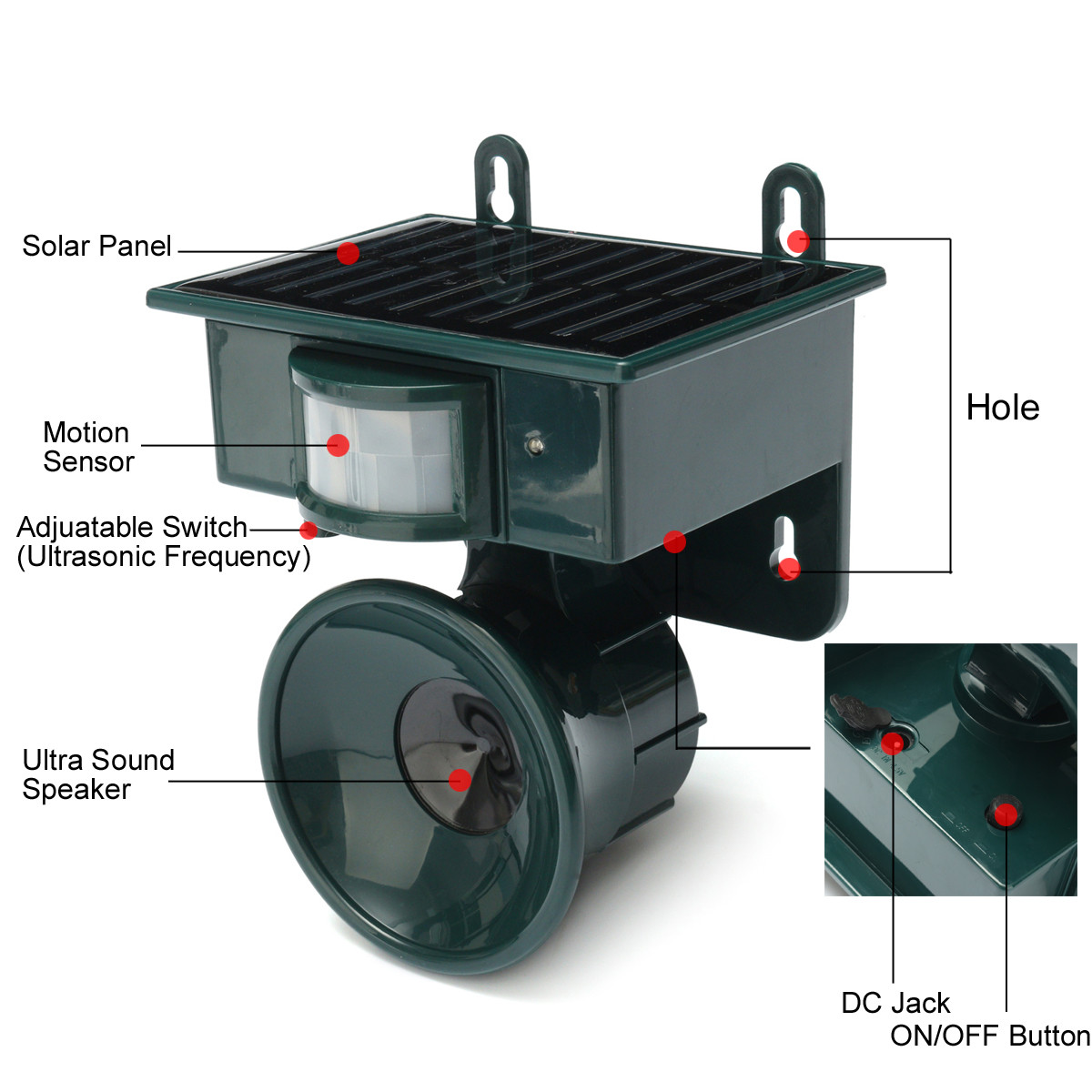 Image 2 - Solar Powered Ultrasonic Bird Repeller PIR Motion Sensor Animal Repellent Bird Pest for Home and Garden Protection-in Repellents from Home & Garden