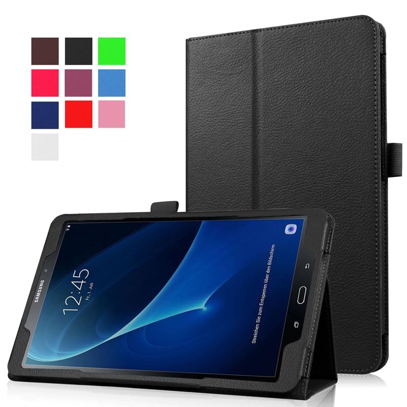 Delgado plegable Flip Funda de cuero PU para Samsung Galaxy Tab a A6 10.1 2016 t585 t580 sm-t580 t580n funda Carcasas + Películas + pluma