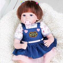 "Фотография 2017 New Princess Anna Hair Rooted Realistic Reborn Baby Dolls Soft Silicone 22"" /55cm Lifelike Newborn Doll Girl Xmas Gift"