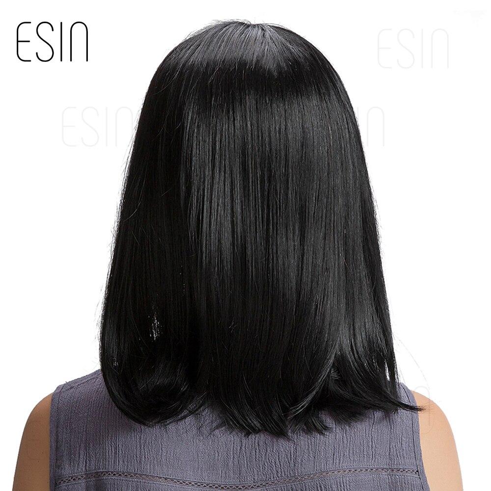 ESIN 16 inch Straight Hair Bob Wigs for Women Long Wig Synthetic Hair 70% Human Hair + 30% Synthetic Hair Elegant Neat bangs