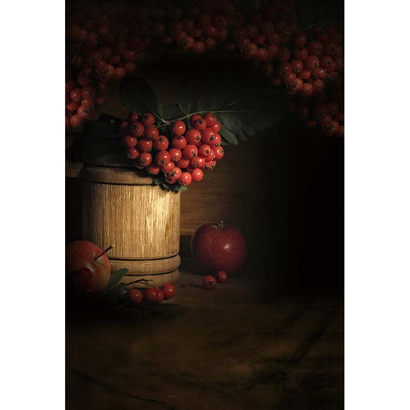 Customize vinyl cloth print 3 D red fruit dark sketch room photo studio backgrounds for wedding photography backdrops CM-5358