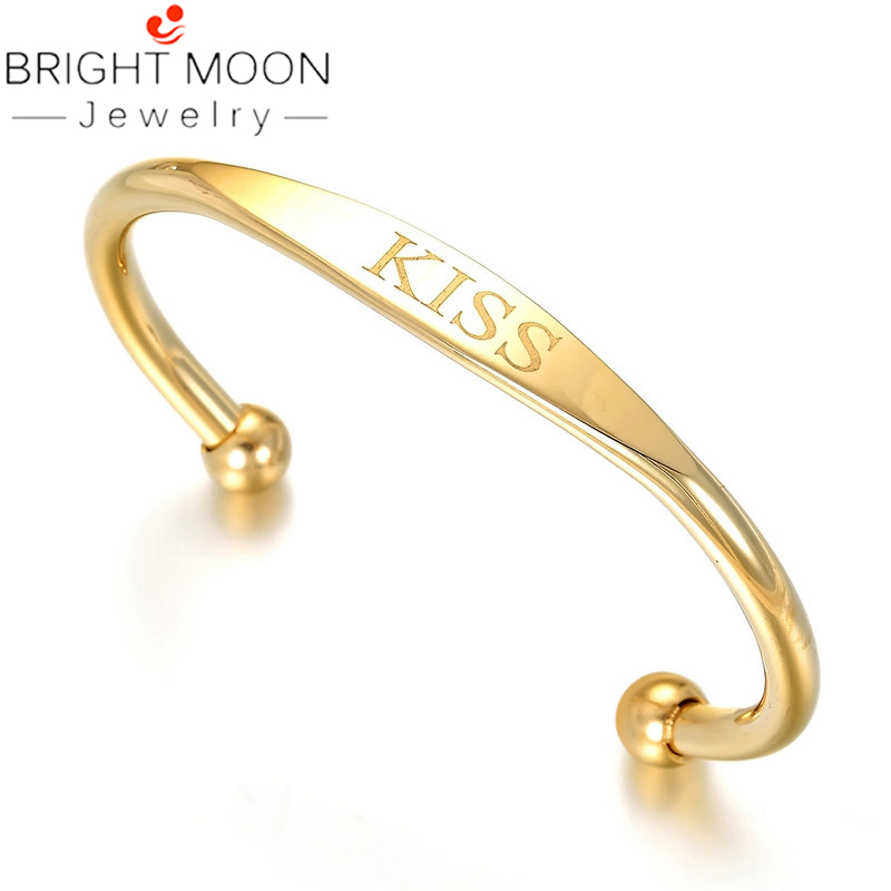 Bright Moon Gold Stainless Steel Bangles Charming Bracelets Classic Style Statement Jewelry for Fashion Women