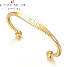 Bright Moon Gold Stainless Steel Bangles Charming Bracelets Classic Style Statement Jewelry Bracelets for Fashion Women недорого