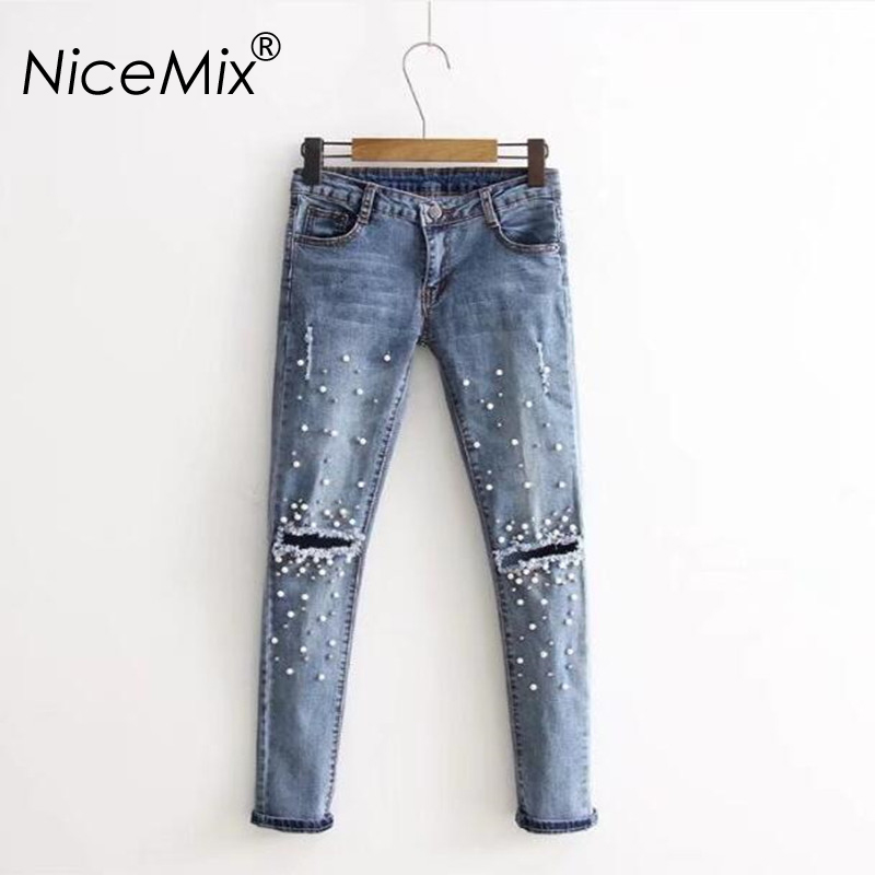 NiceMix 2019 Casual Jeans Woman Pearl Beading Plus Size Hole Ripped Denim Loose Pencil Pants Femme
