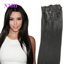 Remy Virgin Brazilian Hair Clip In Extensions 20″Clip In Brazilian Hair Extensions Jet Black Clip In Human Hair Extensions 180G