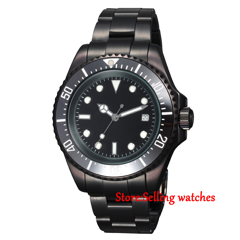 44mm parnis black Sterile dial black PVD Ceramic Bezel automatic mens watch elaine marmel quickbooks online for dummies