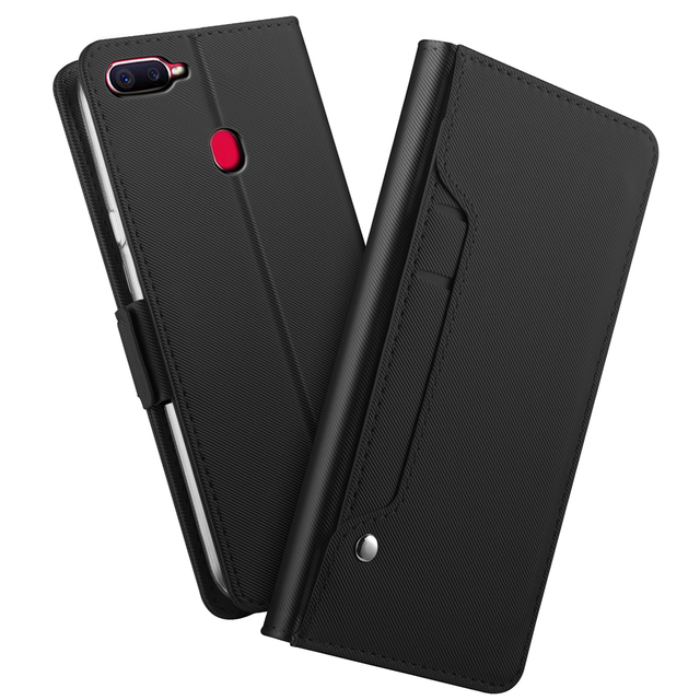 buy online c850c 8be2b US $8.99 35% OFF|For OPPO F9 Pro Case PU Leather Flip Kickstand Wallet Case  with Mirror Card Pocket Shockproof Cover For OPPO F9 Phone Fundas-in Flip  ...