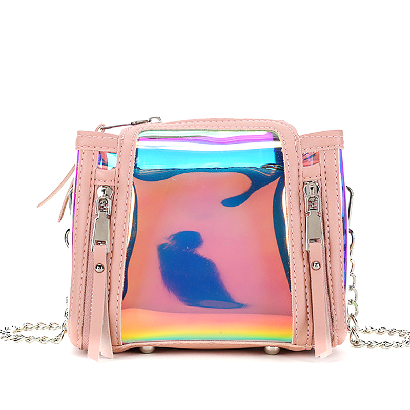 A Small Bag Female Chain Pu Leather Shoulder Bags Laser Hologram Transparent Bucket Bag Women Jelly Crossbody Bags M388