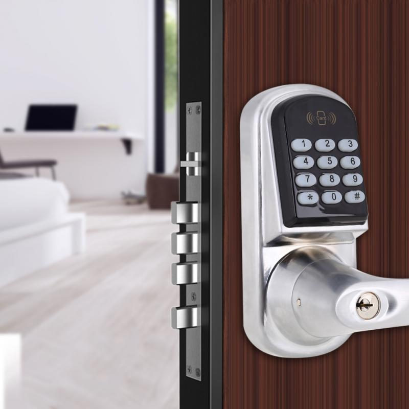 Electronic Digital Password Door Lock Code Entry Latch Induction Security Door Lock Password+Key+Card Cerradura Electronica