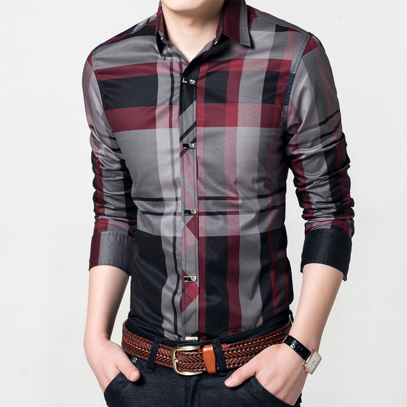 Quality Metal Button Men Cotton Shirt Mens Business Casual Shirts Brand Clothing Slim Fit Plaid Long Sleeve Camisa Masculina 3