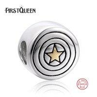 FirstQueen Pure 925 Sterling Zilveren Ronde Gold Colour Star Symbool Bead Charm Fit Armband Sieraden Maken Party Verjaardag