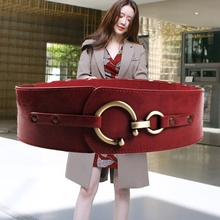 New winter women's decoration wine red han edition cultivate one's morality hook elastic obi joker show thin elastic waist