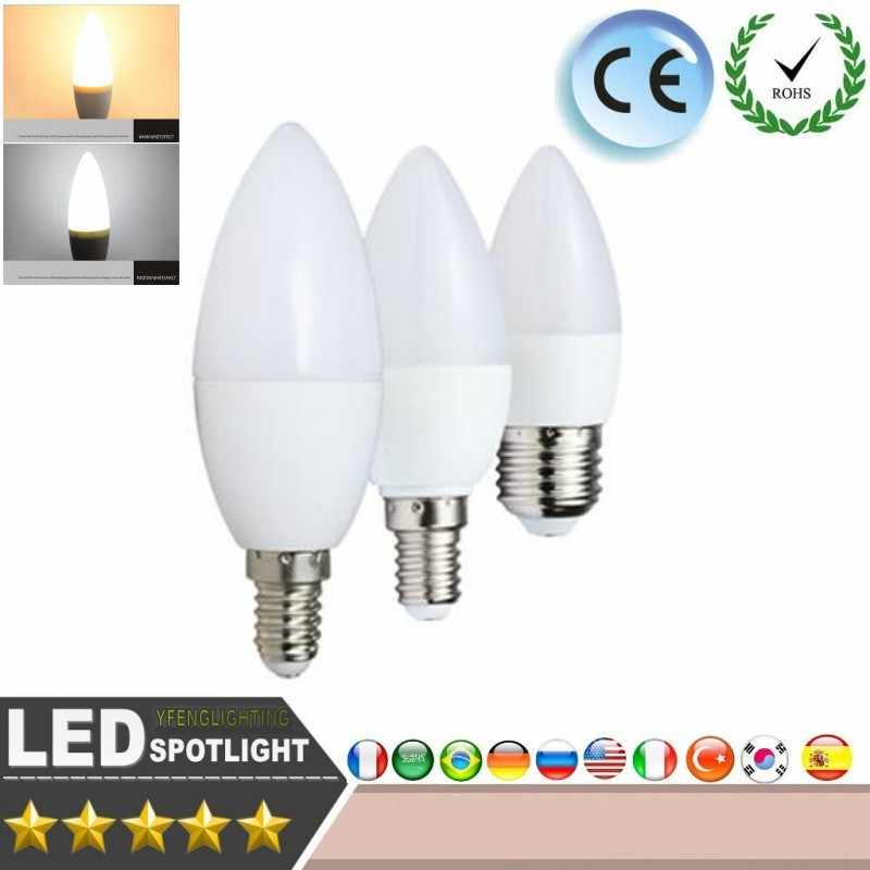 LED Candle Bulb Energy conservation 5W 7W E14 220V CE ROSH Warm/ white chandlier crystal Lamp Ampoule Bombillas LED Candle Light