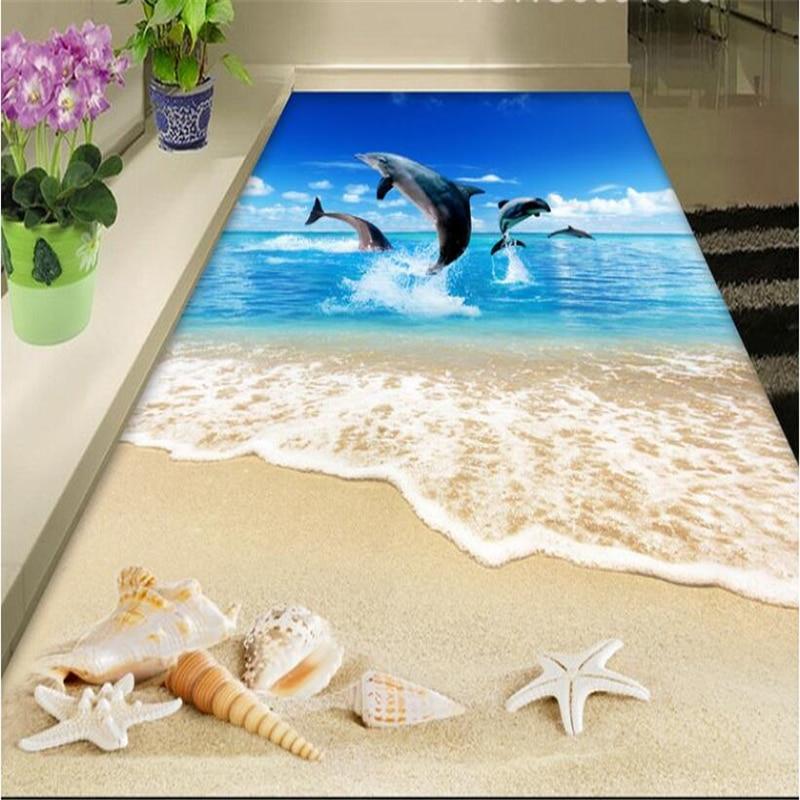beibehang Large Custom Flooring 3D Ocean Beach