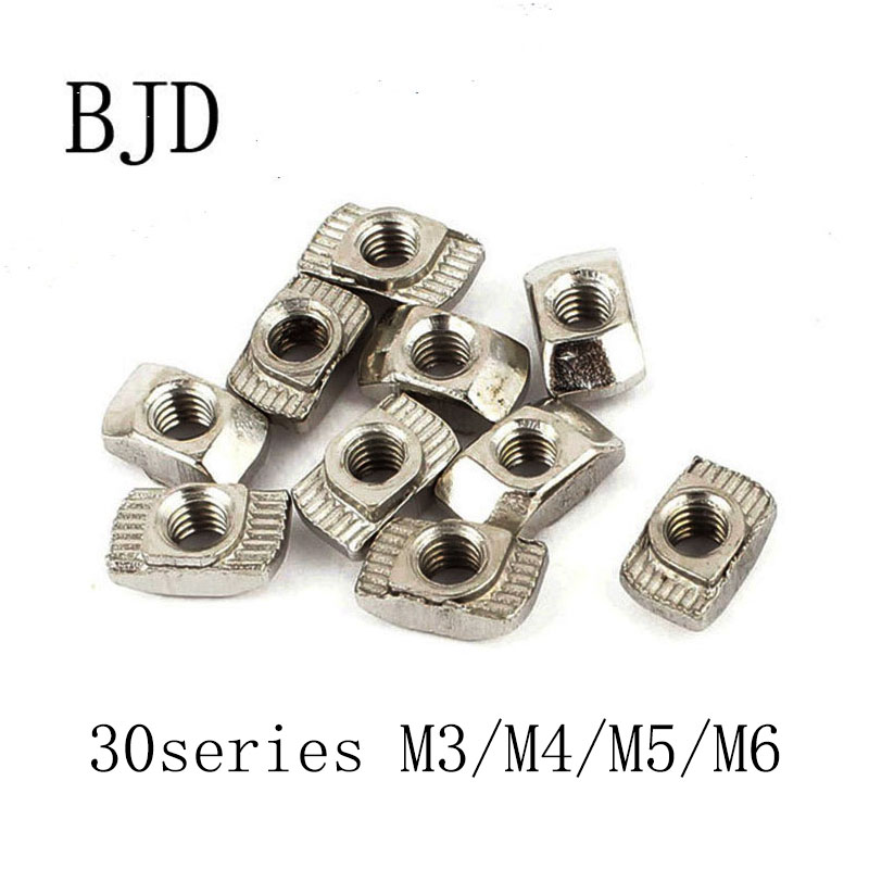 100Pcs 30 Series T nut Hammer Head Nut M3/M4/M5/M6 Connector Nickel Plated 3030 Series Slot Groove Aluminium Profile Accessories цена