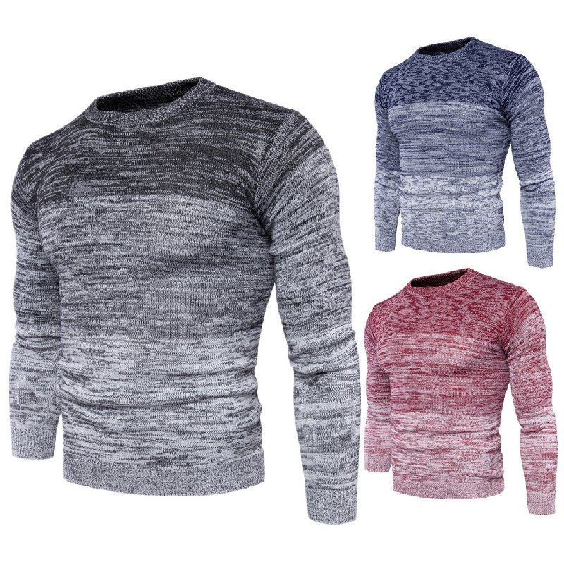 Sweater Men's Autumn Winter Warm Casual Knitting Pullovers Plus Size Cotton Fashion Patchwork Slim Pullover Men Sweater 3XL