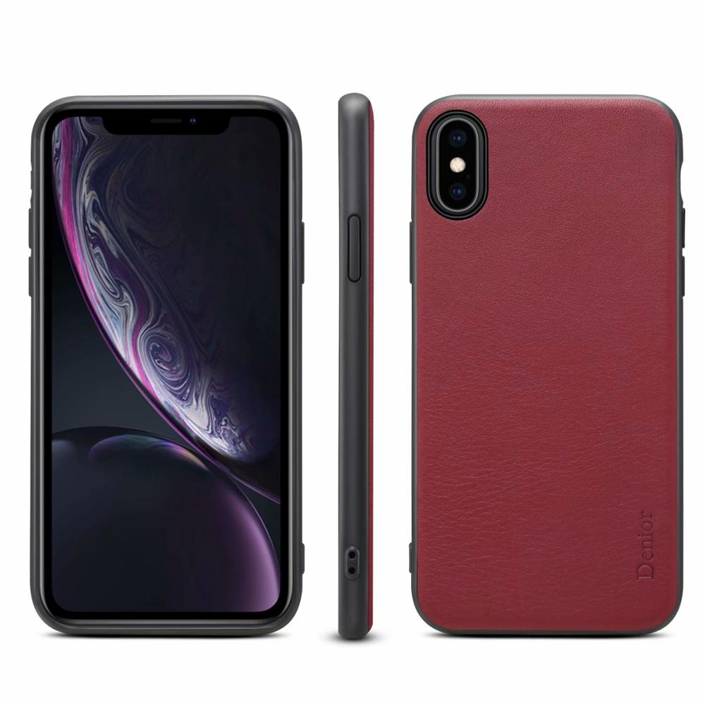 Genuine Leather Luxury Cowhide Classic Phone Back Case for iPhone Xs Max XR X 8 7 Plus Cover Capa Support Wireless Charger in Half wrapped Cases from Cellphones Telecommunications