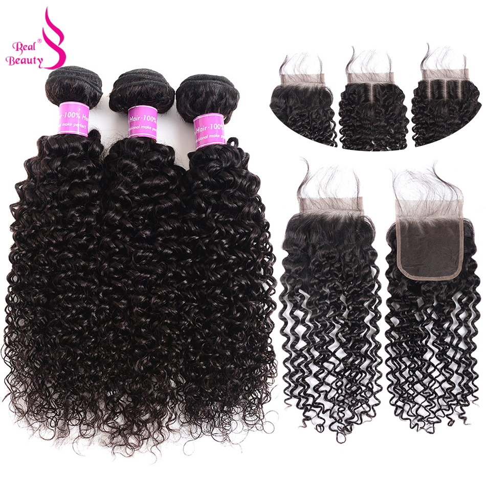 Real Beauty Afro Kinky Curly Weave Human Hair Bundles With Lace Closure Remy Brazilian Hair Weave 3/4 Bundles With Closure