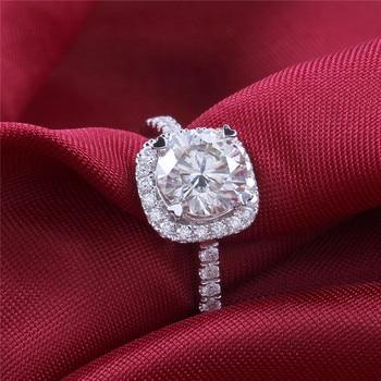 TransGems 14K 585 White Gold 1.5 Carat Diameter 7.5mm Lab Grown Moissanite Diamond Engagement Wedding Ring for Women 2
