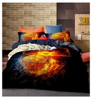 3D effect kussensloop Bed Set Basketball Flame and Water Duvet Cover Sets King Bed Cover Fire Bedding Kit Queen Size 260 x 230