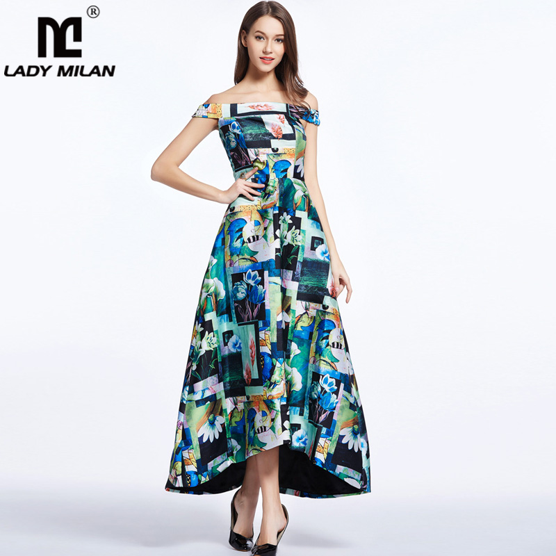New Arrival 2018 Womens Sash Neckline Sexy Off the Shoulder Floral Printed Asymmetric Fashion Summer Long Dresses Casual Dress