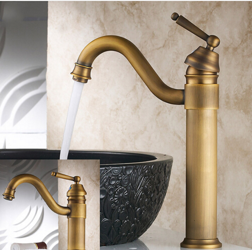 Vintage Style Tall Antique Basin Faucet Brass Bathroom
