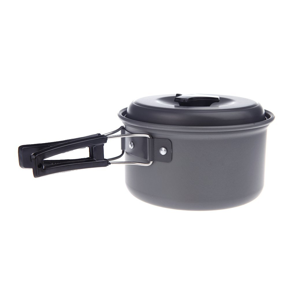 JHO Portable Outdoor Cooking Camping Pot Anodised Aluminum Foldable Handles Non stick font b Cookware b