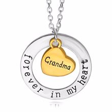 Grandma Forever In My Heart Charm Chain Necklace Family Women Grandmother Birthday Jewelry Gift Nanny Nana Party Choker Collier
