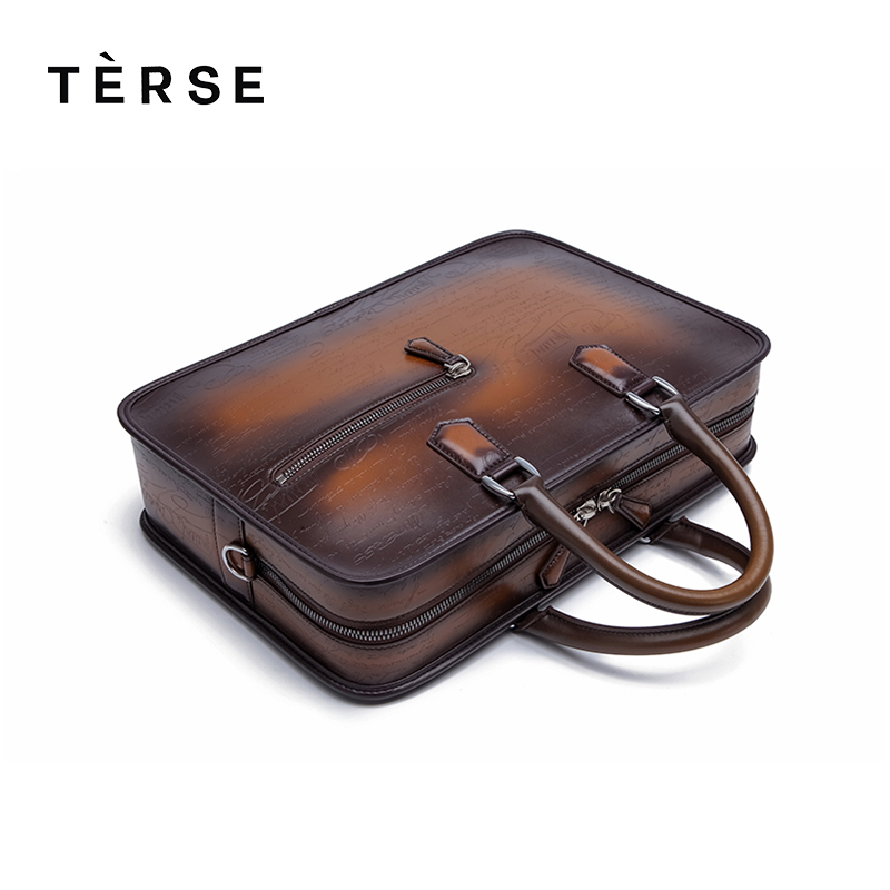 TERSE Genuine Leather Briefcases Men Business Messenger Bags Handmade Personality Fashion Handbag 9372