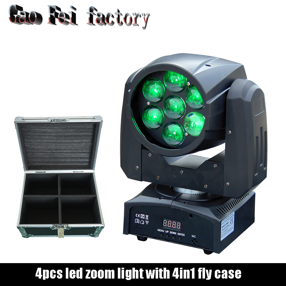 Disco Dj Lighting LED Zoom Wash 7X15W RGBW 4in1 DMX Moving Head For DJ With Fly Case 4in1