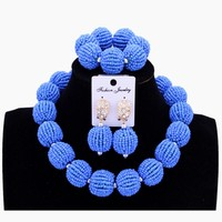 Necklace Sets For Women Sea Blue Balls African Beads Jewelry Sets One Layer Nigerian Wedding Jewelry Sets For Bride Women 2018