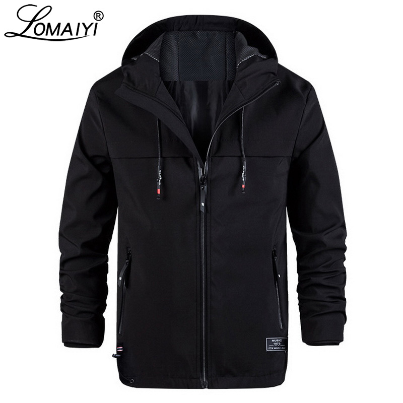 LOMAIYI Men's Spring/Autumn Hooded Jacket Men Stretch Windbreakers Jacket Mens Casual Coat Male Black Softshell Jackets AM371