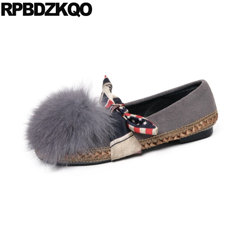 Slip On Fur Bow American Flag Ladies Beautiful Flats Shoes Round Toe 5 Women Suede Gray Fashion Drop Shipping European Spring star pointed toe pearl latest bow slip on flats beautiful ladies shoes suede black bee 2017 women spring autumn european fashion