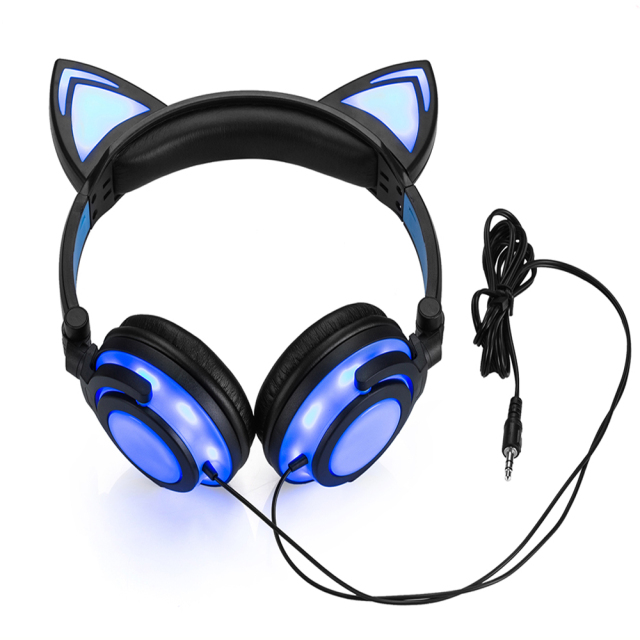 Powstro 2018 Cat  LED Headphones Cat Headphones Adult and Children Flash Luminous Headphones Headphone Gaming