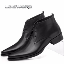 LOISWORD Large size EUR46 Pointed Toe dress shoes mens ankle boots wedding shoes genuine leather mens