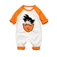 Комбинезон для новорожденных с длинными рукавами, хлопковый комбинезон, одежда Детский комбинезон для малышей, унисекс, с рисунком Гоку, забавная Одежда для маленьких мальчиков и девочек