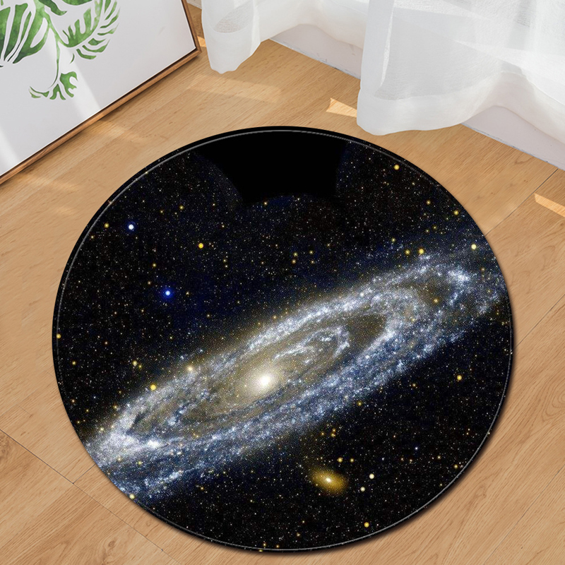 EHOMEBUY Modern Carpet Galaxy Space Black Round Carpet Home Hotel Floor Rugs Foot Pads Bedroom Living Room Carpets Decoration