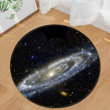 EHOMEBUY Modern Carpet Galaxy Space Black Round Home Hotel Floor Rugs Foot Pads Bedroom Living Room Carpets Decoration
