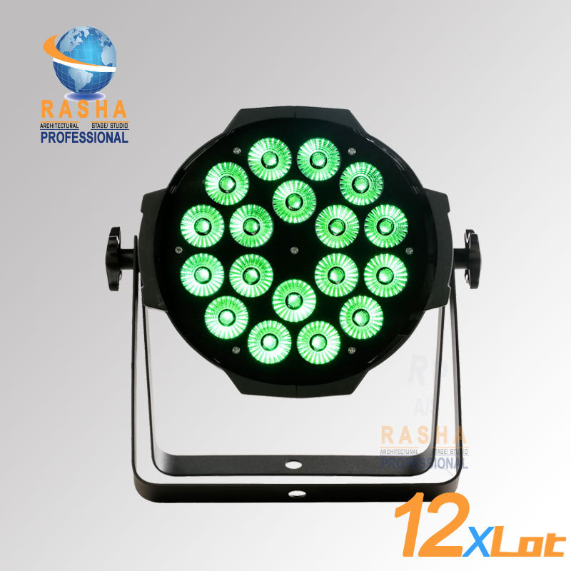 12pcs LOT Rasha Best Sale 18 18W 6IN1 RGBAW UV LED Par Can With PowerCON DMX