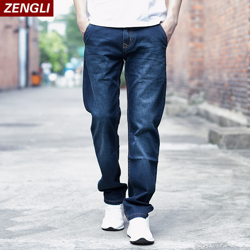 ZENGLI Brand Men's Jeans Comfortable Cotton Fashion Casual Blue Black Loose Solid Elastic Denim Trousers Plus Size 28-48