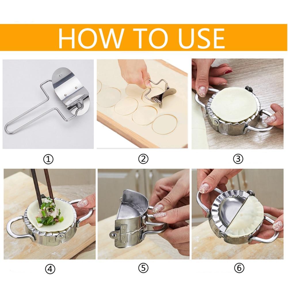 2Pcs/Set Stainless Steel Dumpling Maker Mould Wraper Dough Presser Cutter Pie Ravioli Dumplings Mould Kitchen Cooking Tools
