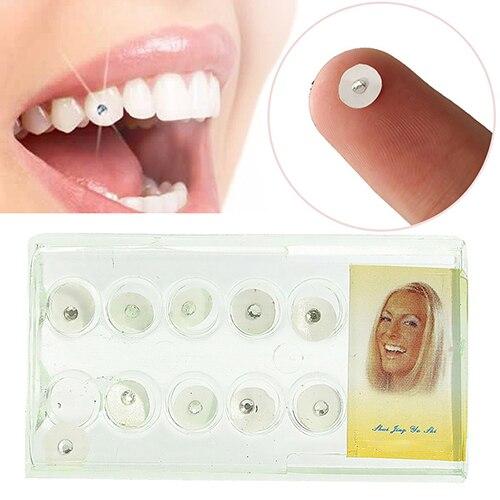 10Pc/Box 2mm Shiny Imitation Crystal Oral Dental Teeth Tooth Jewelry Ornament Acrylic Oral DIY Teeth Decoration With Storage Box