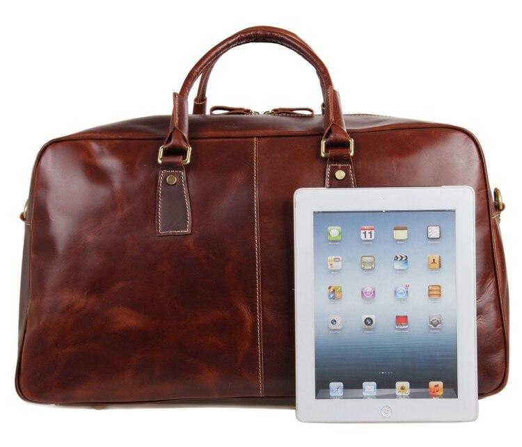 J.M.D Excellent Vintage Crazy Horse Leather Unisex Fashion Simple Design Large Capacity Travel Bag Business Duffle Bag 7156LB цена 2017