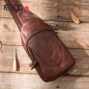 AETOO Men's bag Genuine Leather messenger bag men leather Shoulder Bags man Male Chest Pack Sling / Crossbody Bags for Men qibolu genuine leather mens sling bag single shoulder bag men chest pack messenger crossbody bag for man bolsas masculina mba37