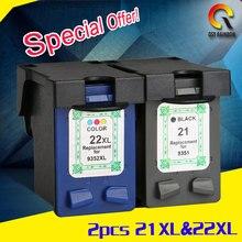 2 шт. для HP 21 22 чернильный картридж (C9351A C9352A) 21XL 22XL для HP deskjet 3915 1530 1320 1455 F2100 F2180 F4100 F4180 20 мл 15 мл