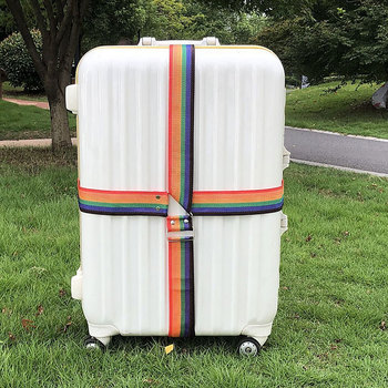 Travel Luggage straps Suitcase Belts Rainbow Adjustable Buckle Baggage Backpack Packing Belt buckle straps flap canvas backpack
